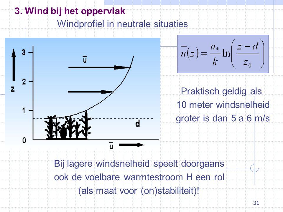 31 Windprofiel in neutrale situaties Praktisch geldig als 10 meter windsnelheid groter is dan 5 a 6 m/s Bij lagere windsnelheid speelt doorgaans ook de voelbare warmtestroom H een rol (als maat voor (on)stabiliteit).