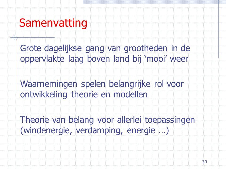 39 Samenvatting Grote dagelijkse gang van grootheden in de oppervlakte laag boven land bij 'mooi' weer Waarnemingen spelen belangrijke rol voor ontwikkeling theorie en modellen Theorie van belang voor allerlei toepassingen (windenergie, verdamping, energie …)