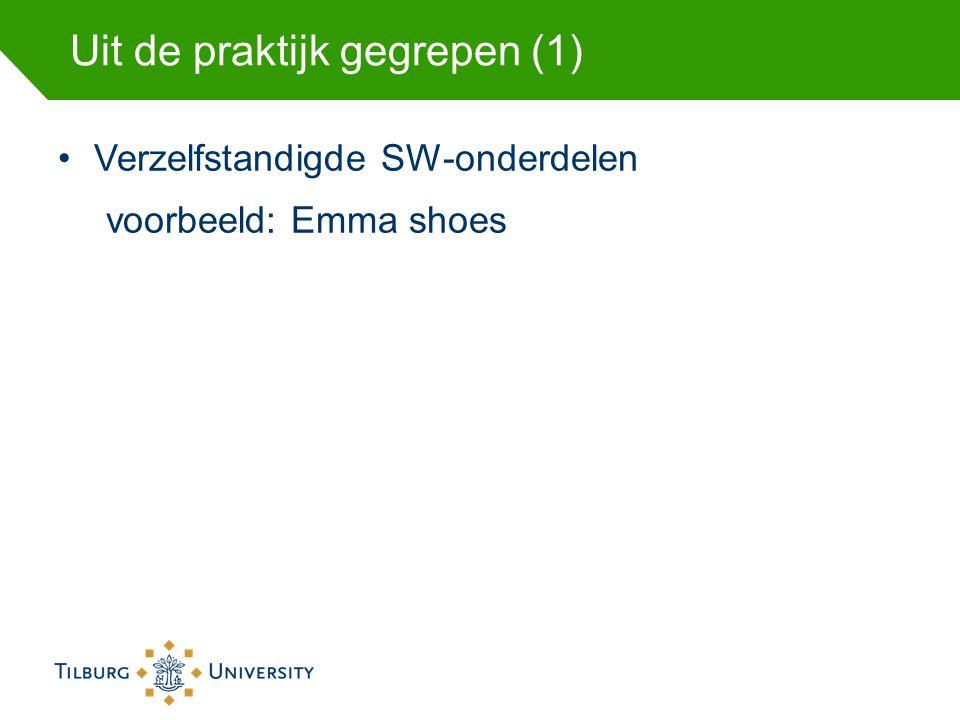 Uit de praktijk gegrepen (1) Verzelfstandigde SW-onderdelen voorbeeld: Emma shoes