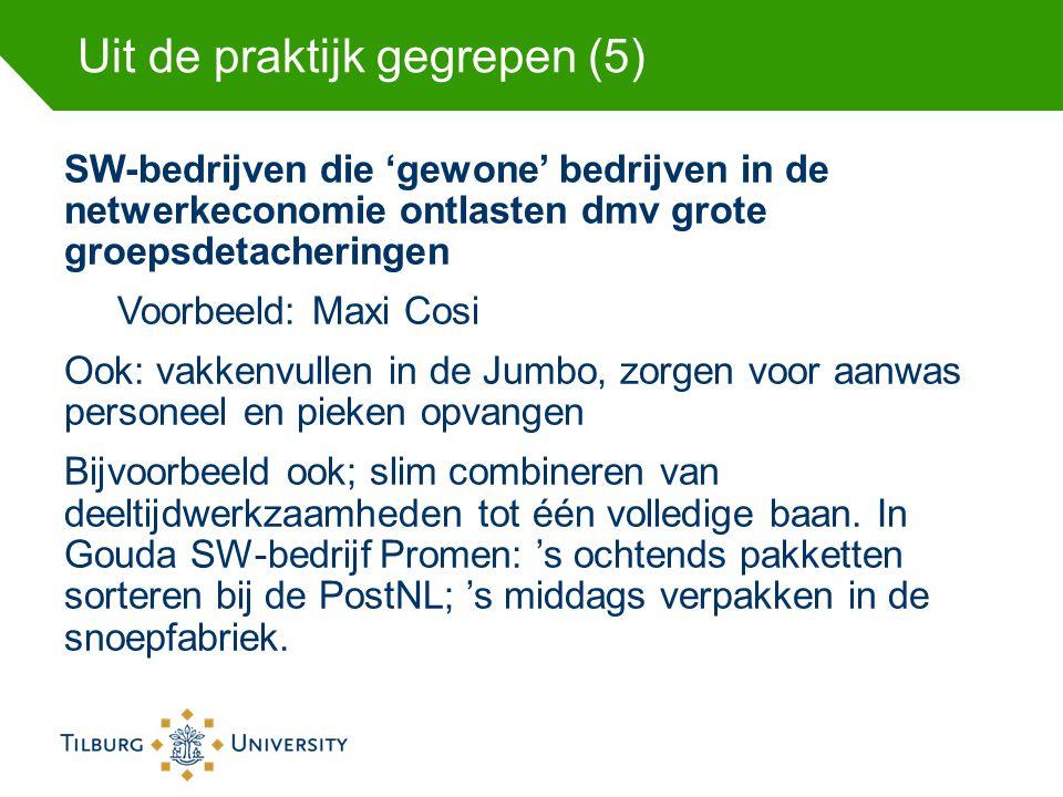 Uit de praktijk gegrepen (5) SW-bedrijven die 'gewone' bedrijven in de netwerkeconomie ontlasten dmv grote groepsdetacheringen Voorbeeld: Maxi Cosi Oo