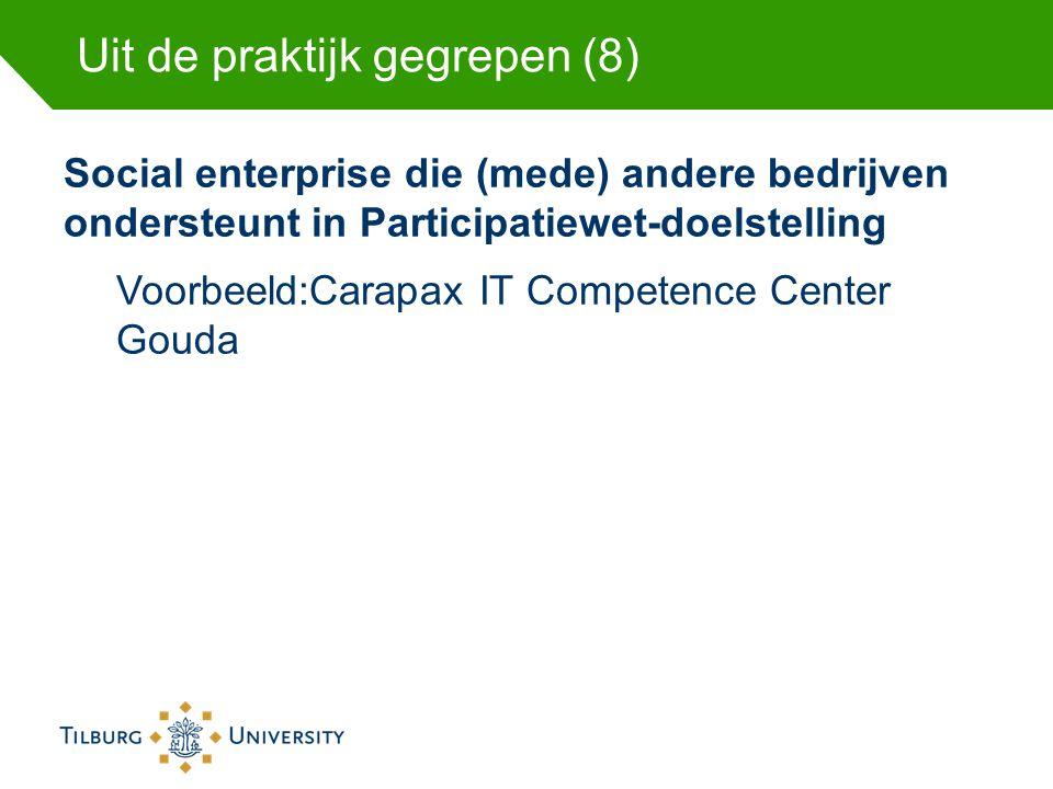 Uit de praktijk gegrepen (8) Social enterprise die (mede) andere bedrijven ondersteunt in Participatiewet-doelstelling Voorbeeld:Carapax IT Competence