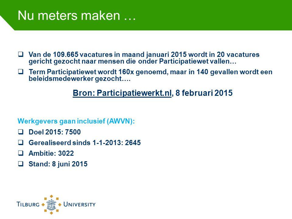 Nu meters maken …  Van de 109.665 vacatures in maand januari 2015 wordt in 20 vacatures gericht gezocht naar mensen die onder Participatiewet vallen…