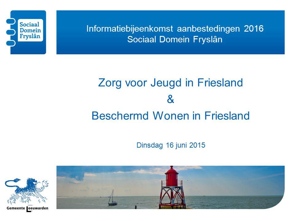 Informatiebijeenkomst aanbestedingen 2016 Sociaal Domein Fryslân Zorg voor Jeugd in Friesland & Beschermd Wonen in Friesland Dinsdag 16 juni 2015