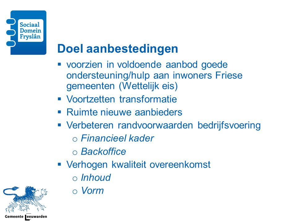 Doel aanbestedingen  voorzien in voldoende aanbod goede ondersteuning/hulp aan inwoners Friese gemeenten (Wettelijk eis)  Voortzetten transformatie