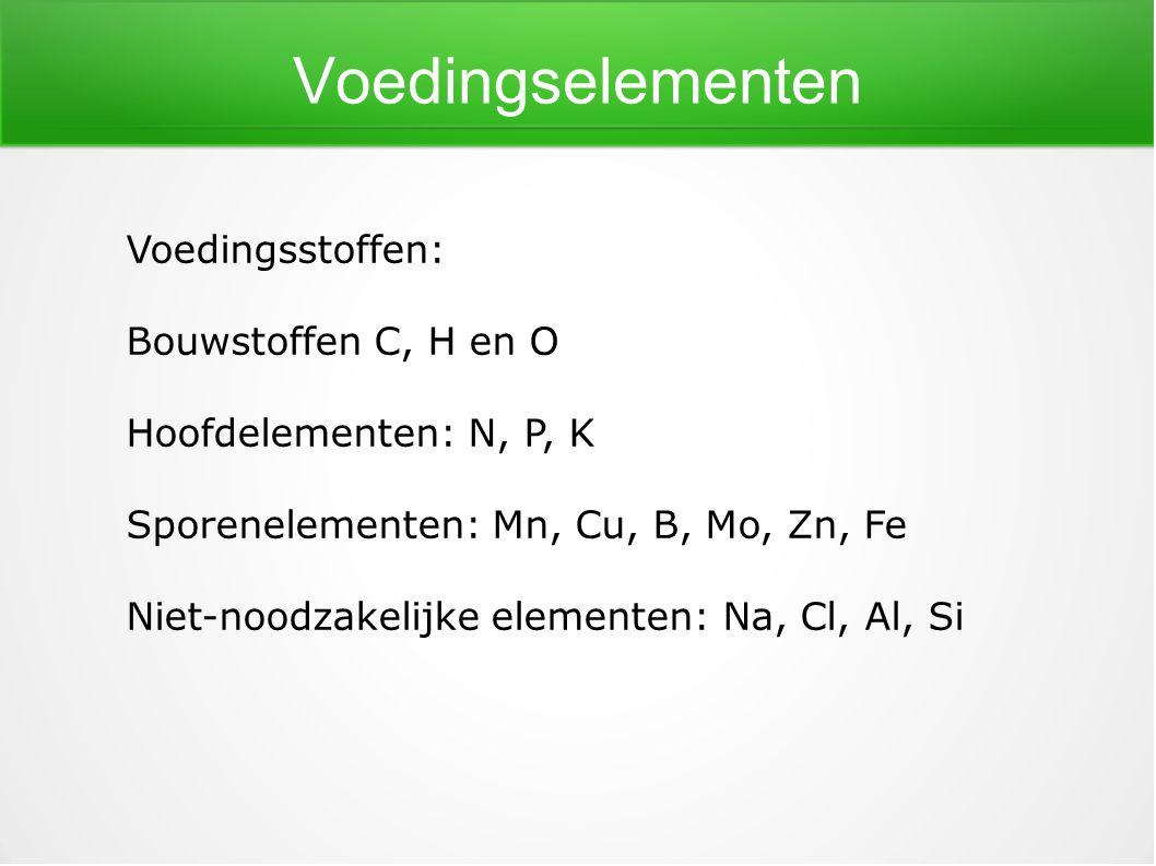 Voedingselementen Voedingsstoffen: Bouwstoffen C, H en O Hoofdelementen: N, P, K Sporenelementen: Mn, Cu, B, Mo, Zn, Fe Niet-noodzakelijke elementen: