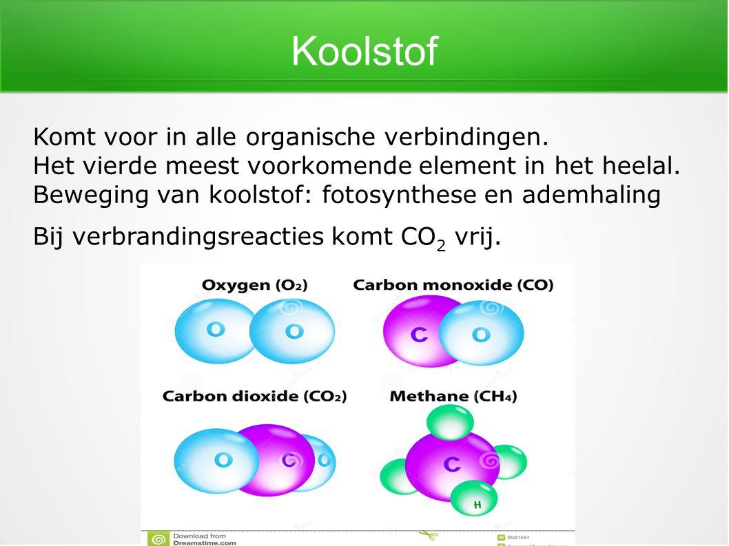 Koolstof Komt voor in alle organische verbindingen. Het vierde meest voorkomende element in het heelal. Beweging van koolstof: fotosynthese en ademhal
