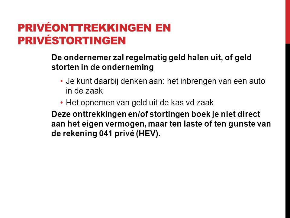 PRIVÉONTTREKKINGEN EN PRIVÉSTORTINGEN Een voorbeeld: Een ondernemer haalt op 24 maart 100 euro uit de kas om op stap te kunnen.