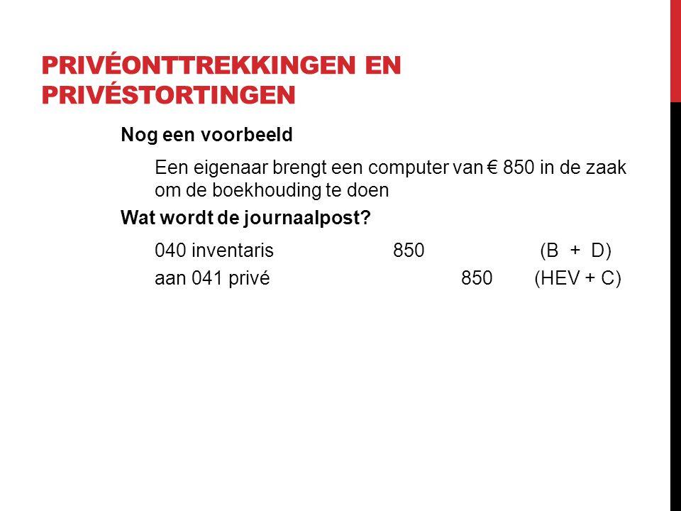 PRIVÉONTTREKKINGEN EN PRIVÉSTORTINGEN Nog een voorbeeld Een eigenaar brengt een computer van € 850 in de zaak om de boekhouding te doen Wat wordt de j