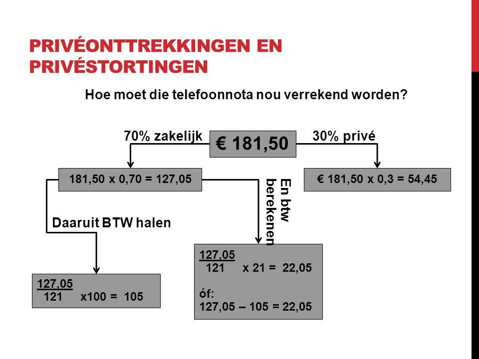 PRIVÉONTTREKKINGEN EN PRIVÉSTORTINGEN Hoe moet die telefoonnota nou verrekend worden? € 181,50 181,50 x 0,70 = 127,05€ 181,50 x 0,3 = 54,45 30% privé7
