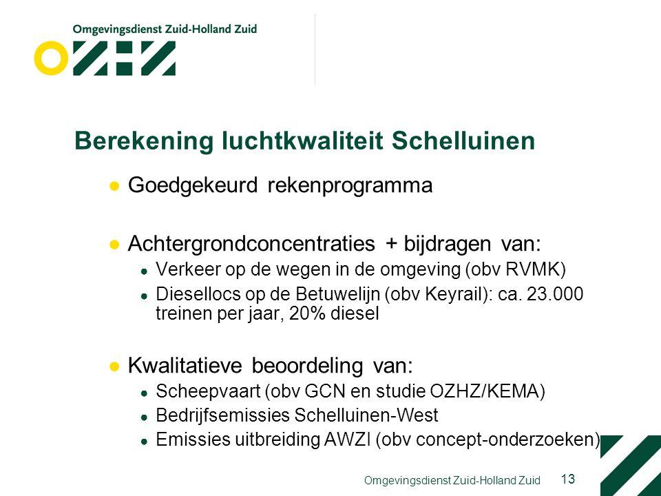 13 Omgevingsdienst Zuid-Holland Zuid Berekening luchtkwaliteit Schelluinen ●Goedgekeurd rekenprogramma ●Achtergrondconcentraties + bijdragen van: ● Ve