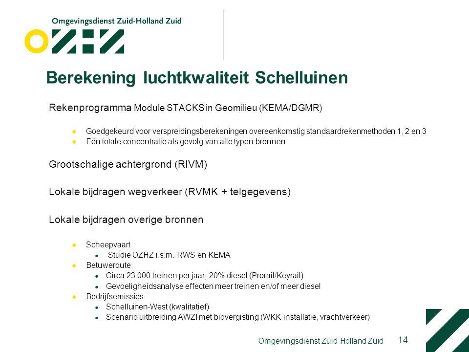 14 Omgevingsdienst Zuid-Holland Zuid Berekening luchtkwaliteit Schelluinen Rekenprogramma Module STACKS in Geomilieu (KEMA/DGMR) ●Goedgekeurd voor ver