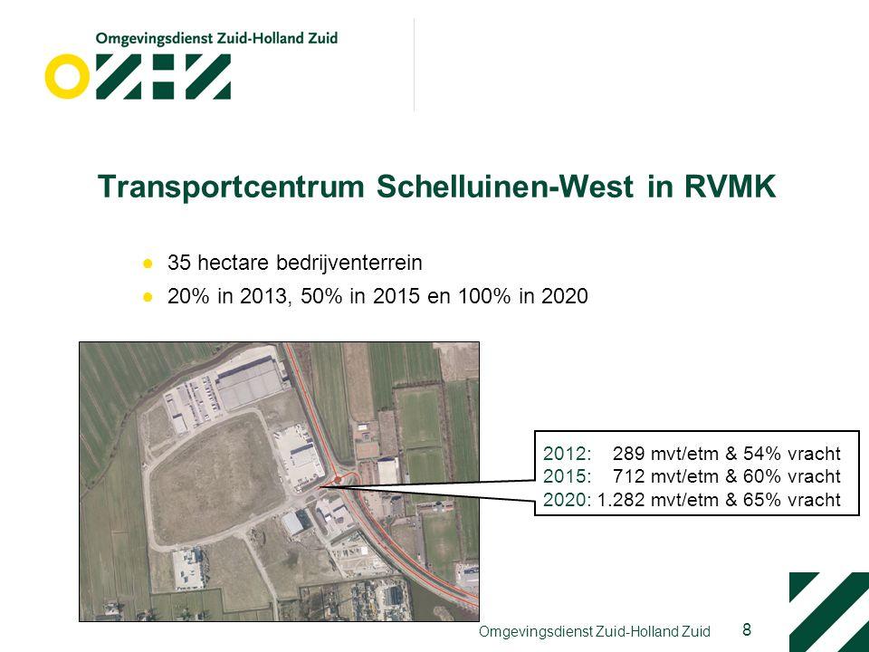 8 Transportcentrum Schelluinen-West in RVMK ●35 hectare bedrijventerrein ●20% in 2013, 50% in 2015 en 100% in 2020 2012: 289 mvt/etm & 54% vracht 2015: 712 mvt/etm & 60% vracht 2020: 1.282 mvt/etm & 65% vracht