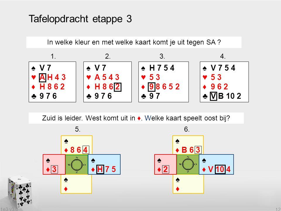 1e3 v3.0 12 Tafelopdracht etappe 3 In welke kleur en met welke kaart komt je uit tegen SA ? 1. 2. 3. 4. ♠V 7 ♥A H 4 3 ♦H 8 6 2 ♣9 7 6 ♠V 7 ♥A 5 4 3 ♦H