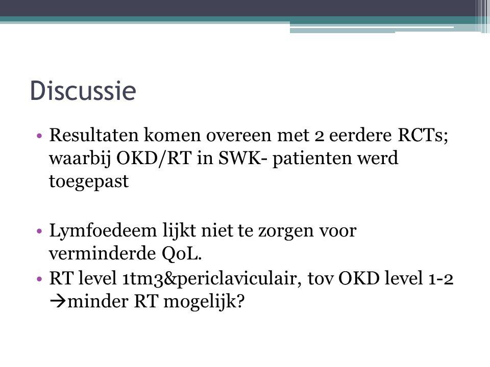 Discussie Resultaten komen overeen met 2 eerdere RCTs; waarbij OKD/RT in SWK- patienten werd toegepast Lymfoedeem lijkt niet te zorgen voor verminderde QoL.