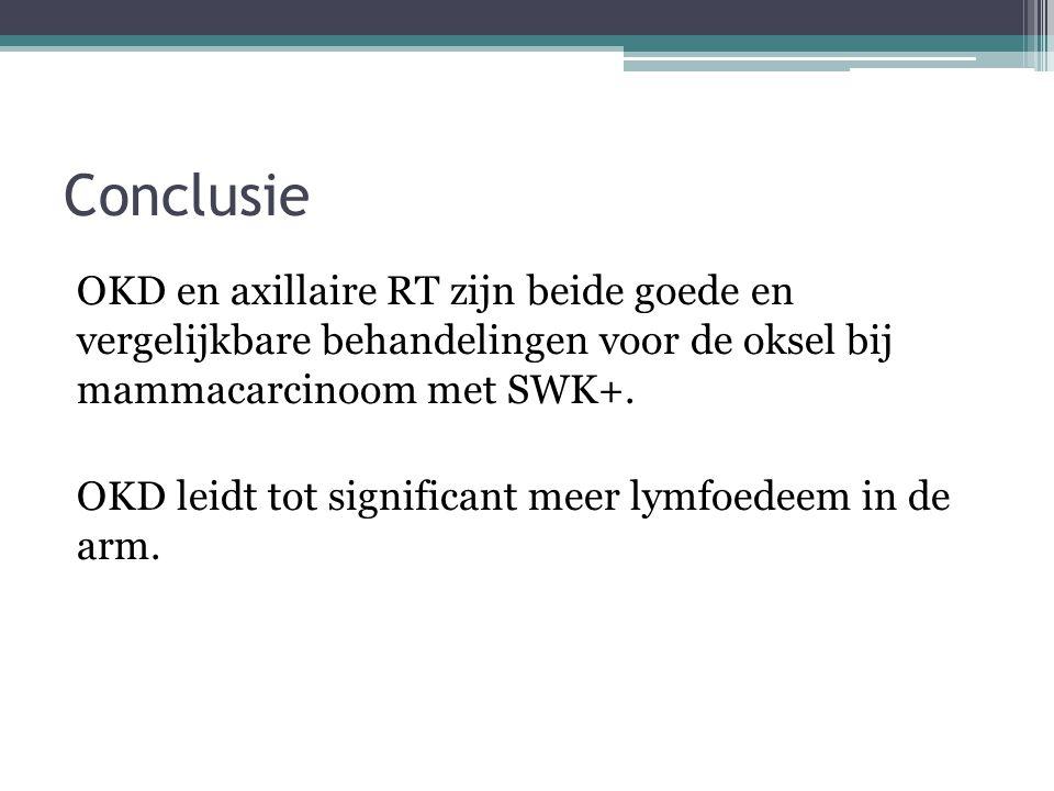 Conclusie OKD en axillaire RT zijn beide goede en vergelijkbare behandelingen voor de oksel bij mammacarcinoom met SWK+. OKD leidt tot significant mee