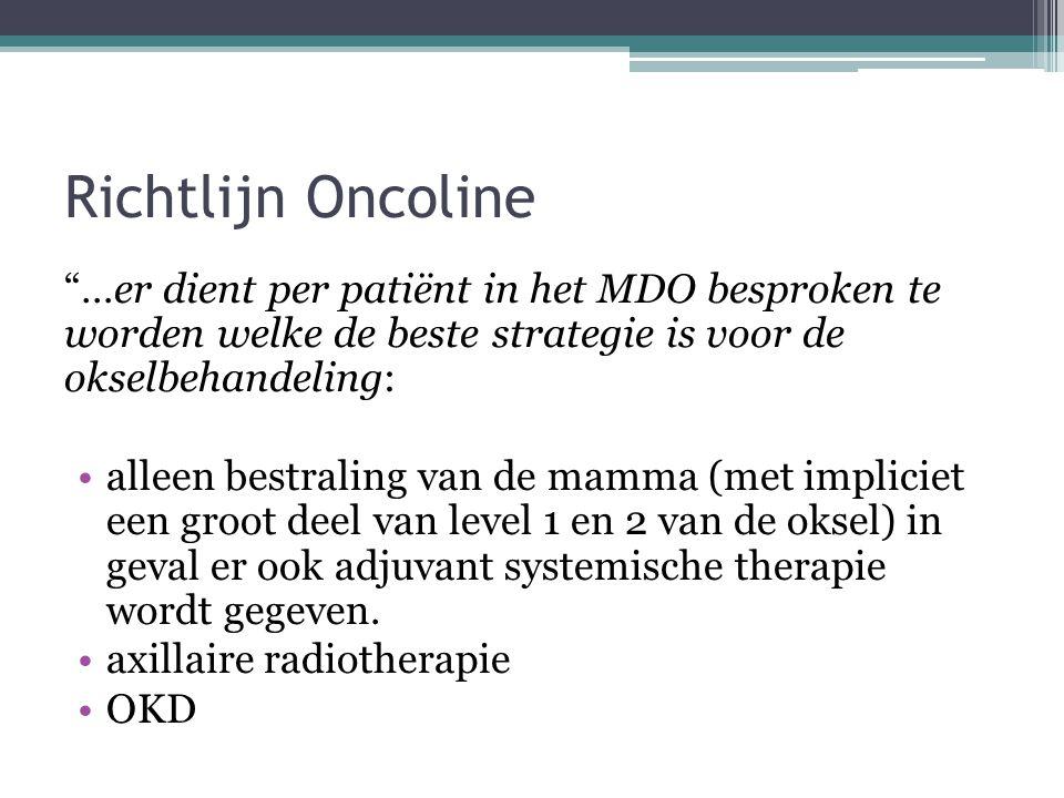 Richtlijn Oncoline …er dient per patiënt in het MDO besproken te worden welke de beste strategie is voor de okselbehandeling: alleen bestraling van de mamma (met impliciet een groot deel van level 1 en 2 van de oksel) in geval er ook adjuvant systemische therapie wordt gegeven.
