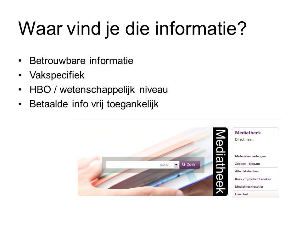 Waar vind je die informatie.