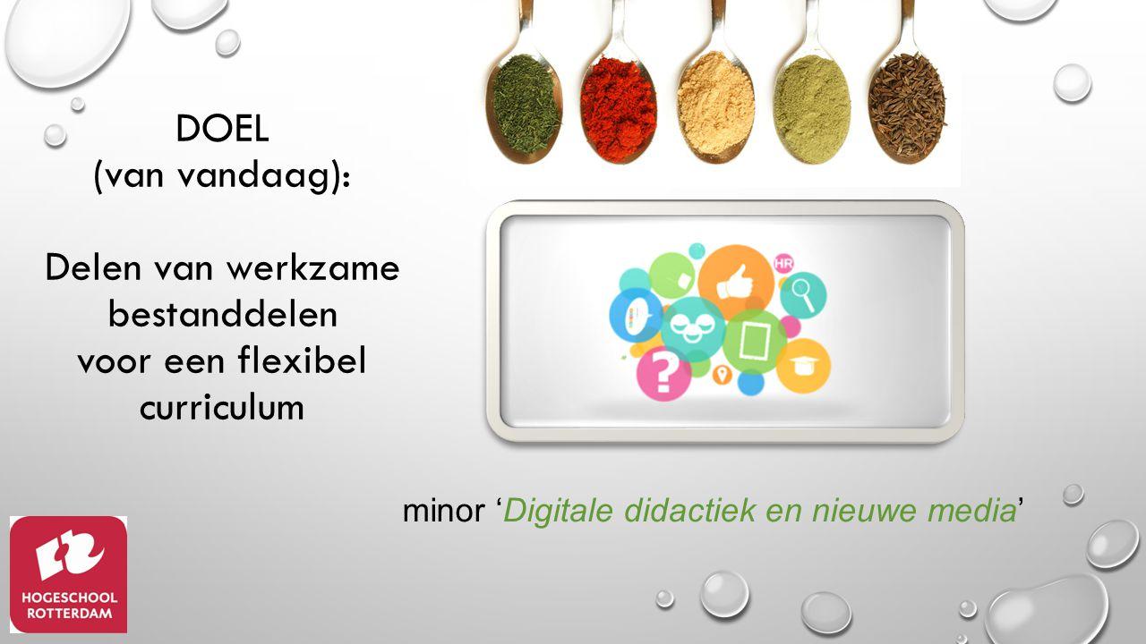 minor 'Digitale didactiek en nieuwe media' DOEL (van vandaag): Delen van werkzame bestanddelen voor een flexibel curriculum