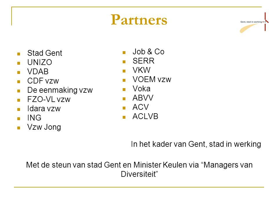 Partners Stad Gent UNIZO VDAB CDF vzw De eenmaking vzw FZO-VL vzw Idara vzw ING Vzw Jong Job & Co SERR VKW VOEM vzw Voka ABVV ACV ACLVB In het kader van Gent, stad in werking Met de steun van stad Gent en Minister Keulen via Managers van Diversiteit