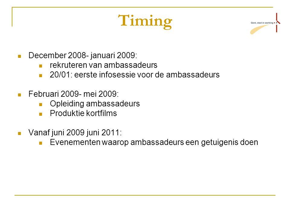 Timing December 2008- januari 2009: rekruteren van ambassadeurs 20/01: eerste infosessie voor de ambassadeurs Februari 2009- mei 2009: Opleiding ambassadeurs Produktie kortfilms Vanaf juni 2009 juni 2011: Evenementen waarop ambassadeurs een getuigenis doen