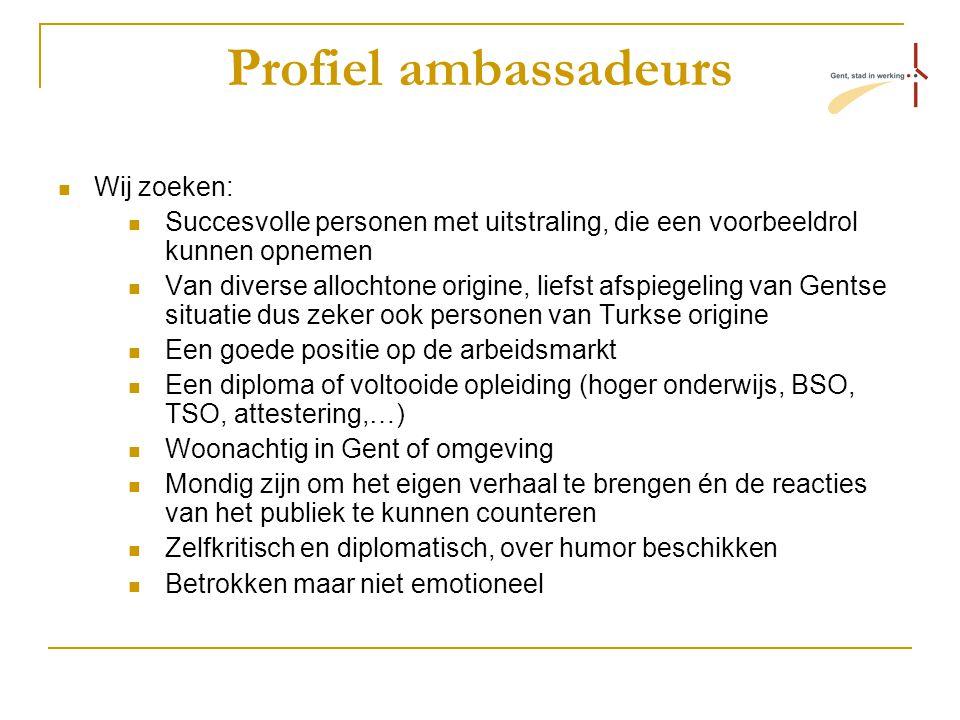 Profiel ambassadeurs Wij zoeken: Succesvolle personen met uitstraling, die een voorbeeldrol kunnen opnemen Van diverse allochtone origine, liefst afsp