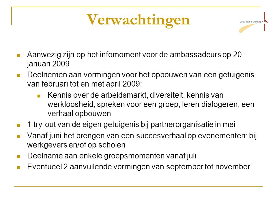 Verwachtingen Aanwezig zijn op het infomoment voor de ambassadeurs op 20 januari 2009 Deelnemen aan vormingen voor het opbouwen van een getuigenis van