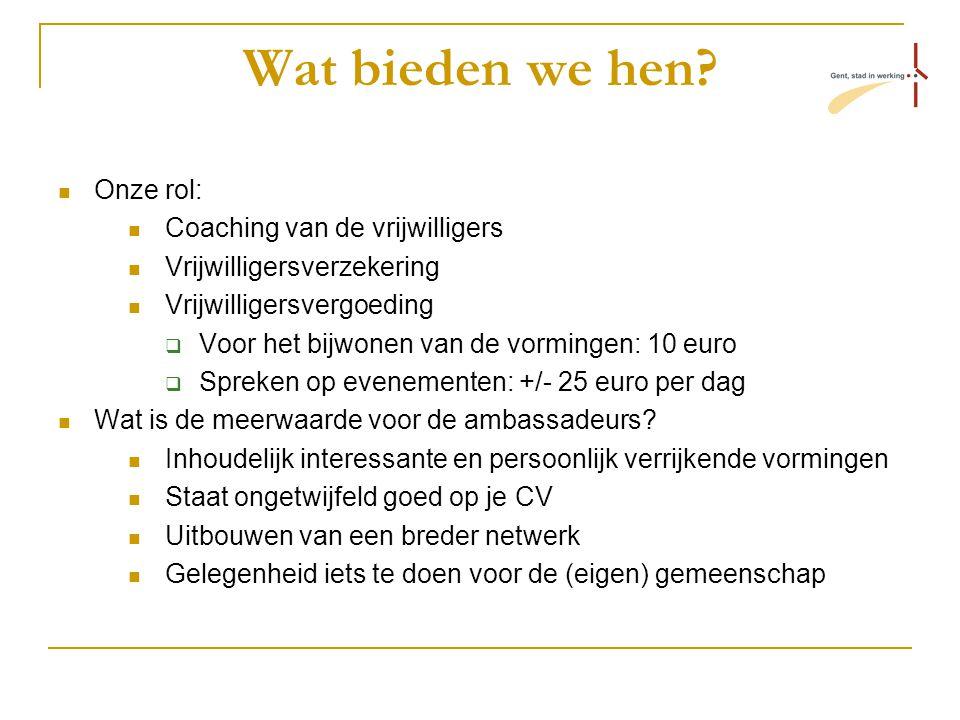 Wat bieden we hen? Onze rol: Coaching van de vrijwilligers Vrijwilligersverzekering Vrijwilligersvergoeding  Voor het bijwonen van de vormingen: 10 e