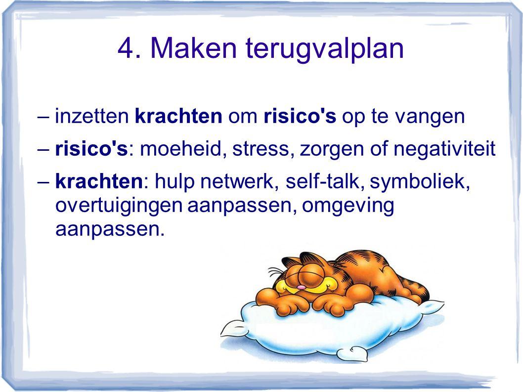4. Maken terugvalplan – inzetten krachten om risico's op te vangen – risico's: moeheid, stress, zorgen of negativiteit – krachten: hulp netwerk, self-