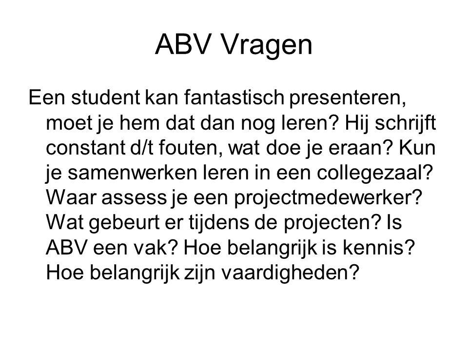 ABV Vragen Een student kan fantastisch presenteren, moet je hem dat dan nog leren.