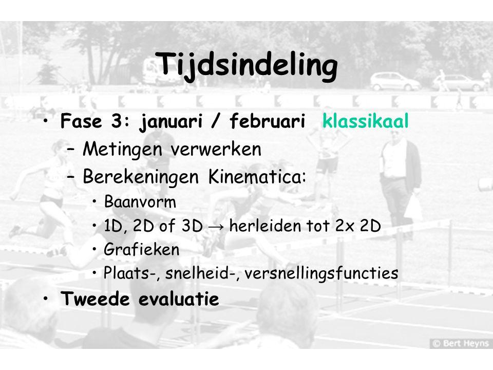 10 Tijdsindeling Fase 3: januari / februari klassikaal –Metingen verwerken –Berekeningen Kinematica: Baanvorm 1D, 2D of 3D → herleiden tot 2x 2D Grafi