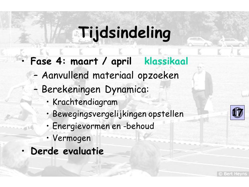 11 Tijdsindeling Fase 4: maart / april klassikaal –Aanvullend materiaal opzoeken –Berekeningen Dynamica: Krachtendiagram Bewegingsvergelijkingen opste