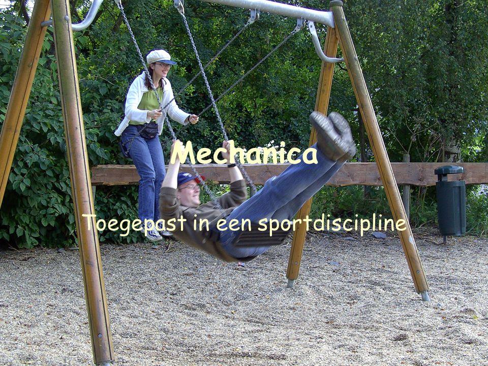 3 Mechanica Toegepast in een sportdiscipline –Schansspringen, zweefvliegen, ijsschaatsen, … Absoluut vereist: zelf een meting kunnen uitvoeren –Achtbaan, zwemmen, frisbee, … Keuze beperken tot atletiek –Eigen experiment zeker haalbaar
