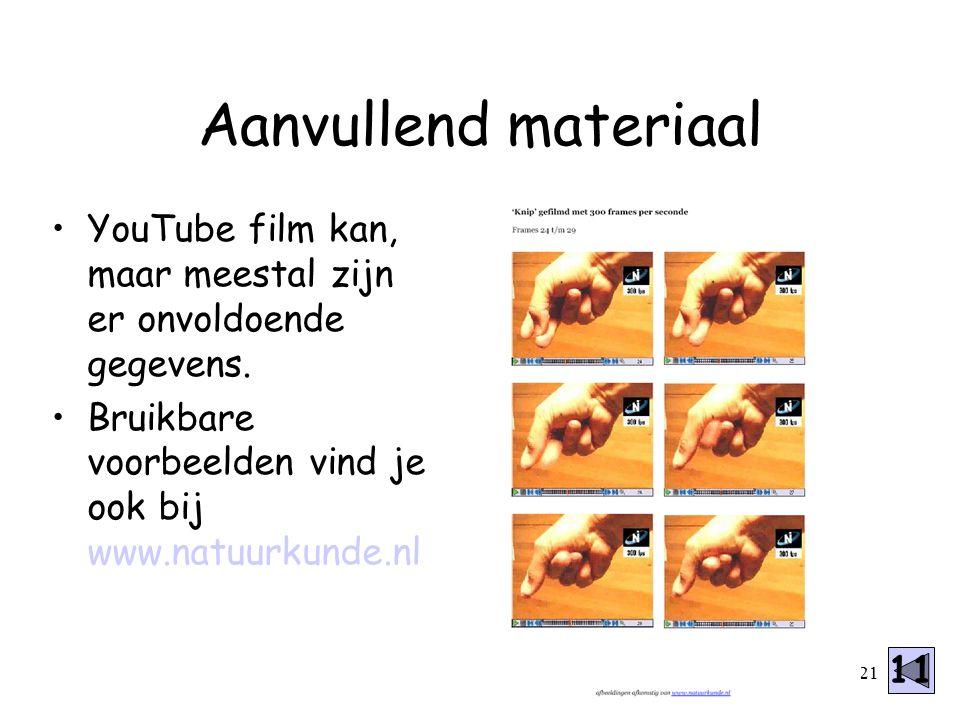 21 YouTube film kan, maar meestal zijn er onvoldoende gegevens. Bruikbare voorbeelden vind je ook bij www.natuurkunde.nl Aanvullend materiaal 11