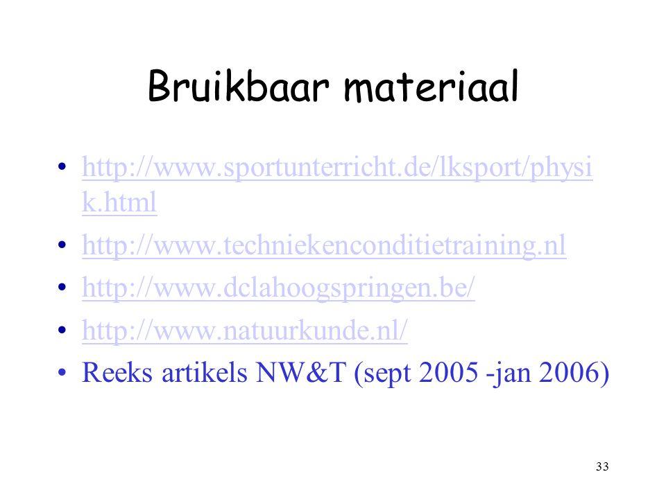 33 Bruikbaar materiaal http://www.sportunterricht.de/lksport/physi k.htmlhttp://www.sportunterricht.de/lksport/physi k.html http://www.techniekencondi
