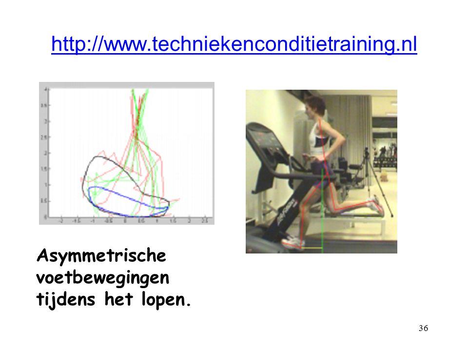 36 http://www.techniekenconditietraining.nl Asymmetrische voetbewegingen tijdens het lopen.