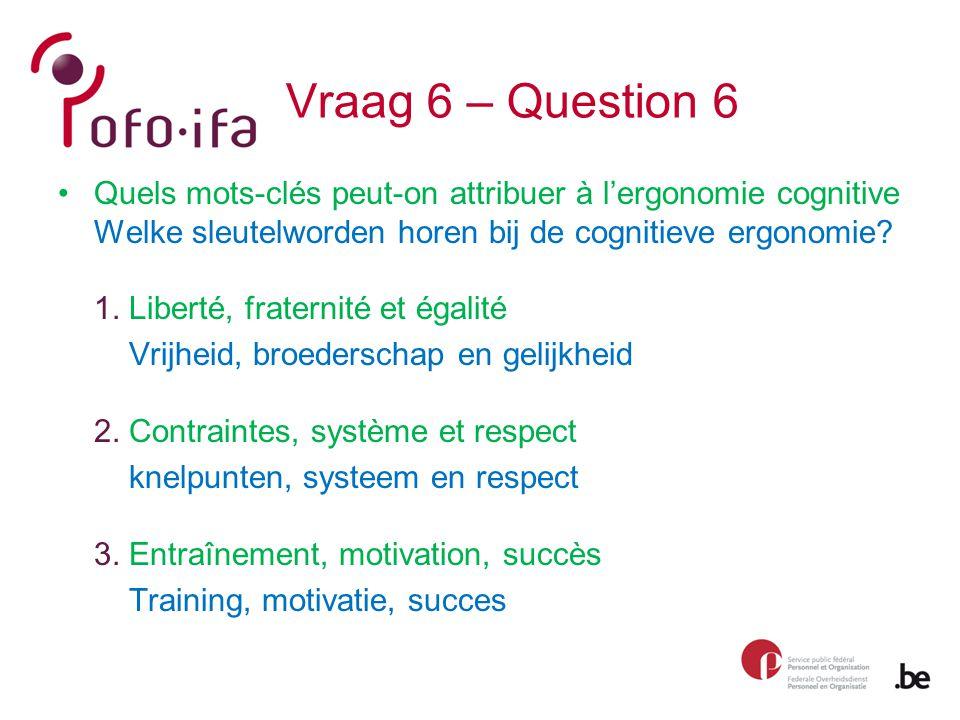 Vraag 6 – Question 6 Quels mots-clés peut-on attribuer à l'ergonomie cognitive Welke sleutelworden horen bij de cognitieve ergonomie.