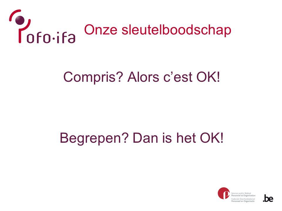 Onze sleutelboodschap Compris Alors c'est OK! Begrepen Dan is het OK!