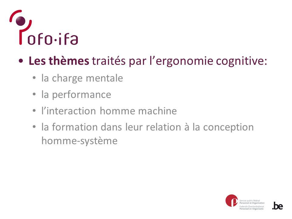 Les thèmes traités par l'ergonomie cognitive: la charge mentale la performance l'interaction homme machine la formation dans leur relation à la conception homme-système
