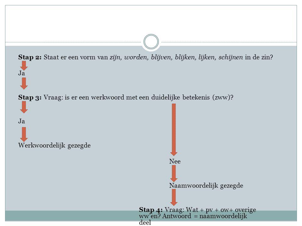 Stap 2: Staat er een vorm van zijn, worden, blijven, blijken, lijken, schijnen in de zin? Ja Stap 3: Vraag: is er een werkwoord met een duidelijke bet