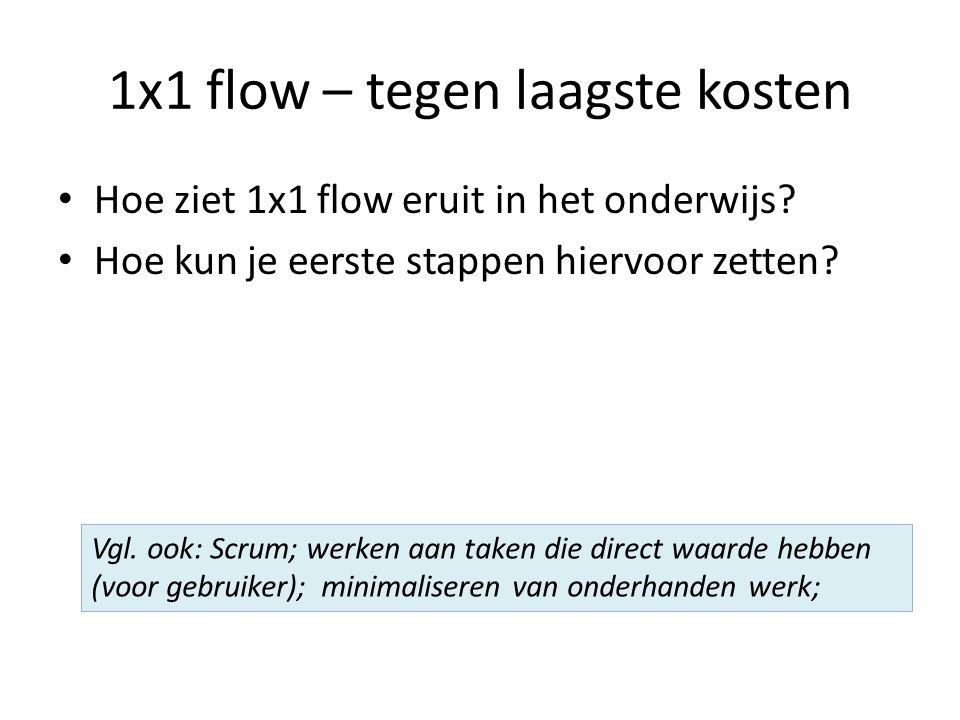 1x1 flow – tegen laagste kosten Hoe ziet 1x1 flow eruit in het onderwijs.