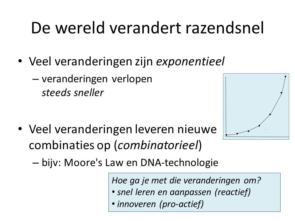 De wereld verandert razendsnel Veel veranderingen zijn exponentieel – veranderingen verlopen steeds sneller Veel veranderingen leveren nieuwe combinaties op (combinatorieel) – bijv: Moore s Law en DNA-technologie Hoe ga je met die veranderingen om.