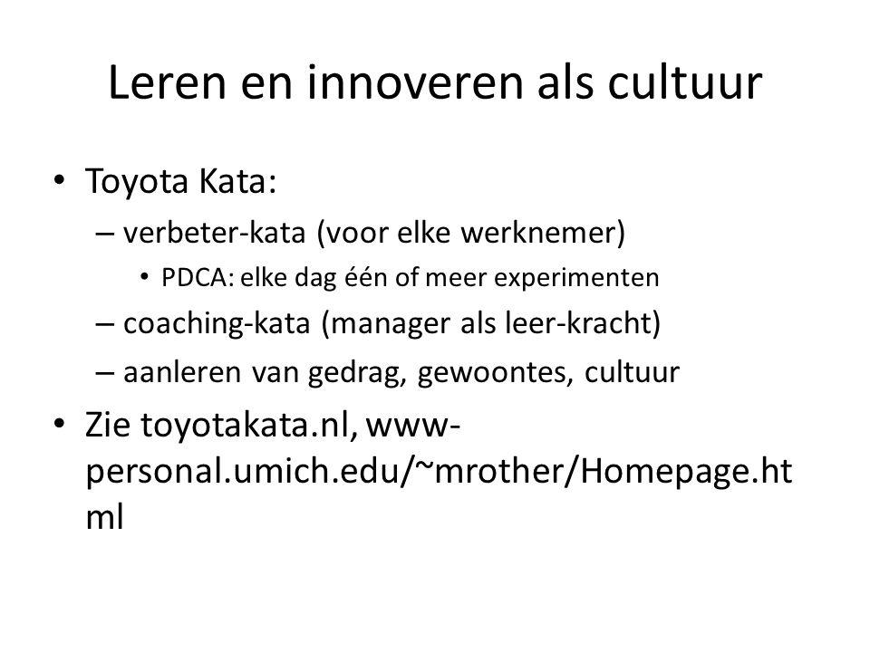 Leren en innoveren als cultuur Toyota Kata: – verbeter-kata (voor elke werknemer) PDCA: elke dag één of meer experimenten – coaching-kata (manager als leer-kracht) – aanleren van gedrag, gewoontes, cultuur Zie toyotakata.nl, www- personal.umich.edu/~mrother/Homepage.ht ml