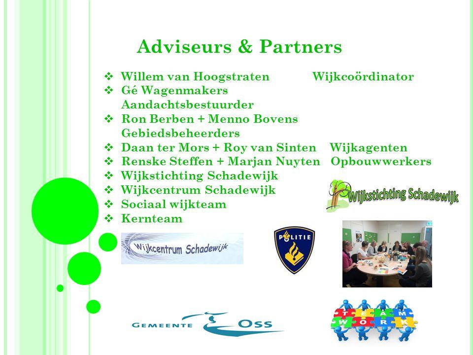 Adviseurs & Partners  Willem van Hoogstraten Wijkcoördinator  Gé Wagenmakers Aandachtsbestuurder  Ron Berben + Menno Bovens Gebiedsbeheerders  Daa