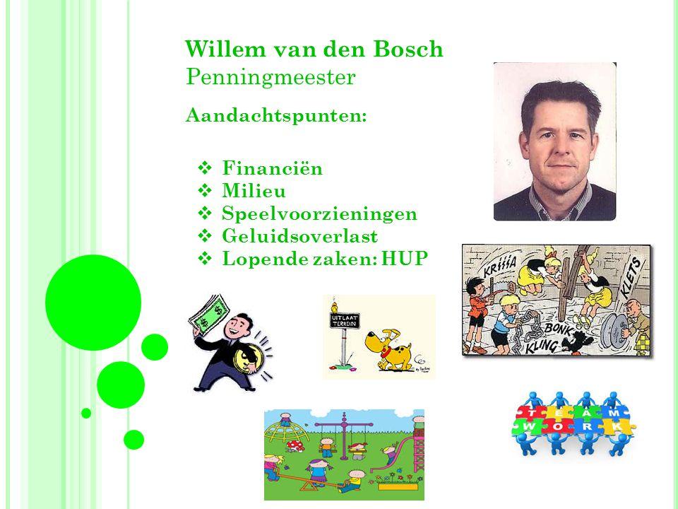 Willem van den Bosch Penningmeester Aandachtspunten:  Financiën  Milieu  Speelvoorzieningen  Geluidsoverlast  Lopende zaken: HUP
