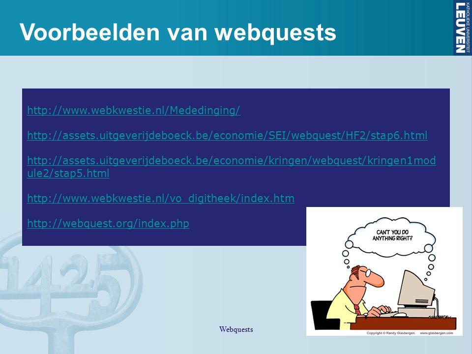 Voorbeelden van webquests Webquests http://www.webkwestie.nl/Mededinging/ http://assets.uitgeverijdeboeck.be/economie/SEI/webquest/HF2/stap6.html http