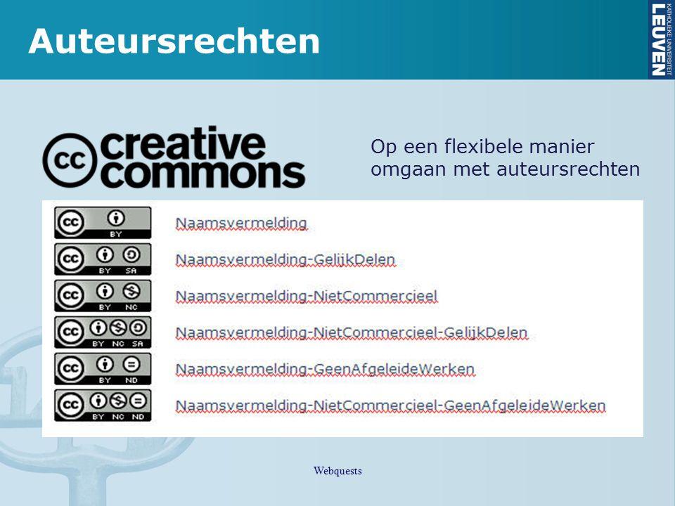 Auteursrechten Op een flexibele manier omgaan met auteursrechten Webquests