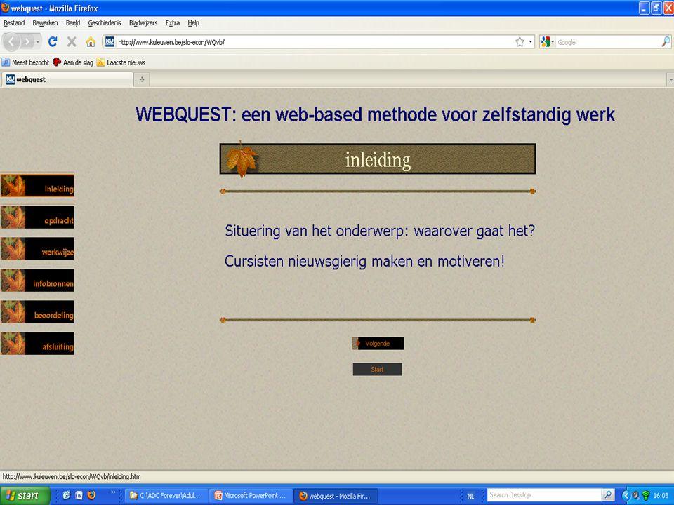 En nu aan de slag… Webquests