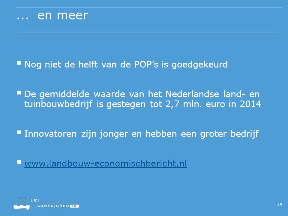 ... en meer  Nog niet de helft van de POP's is goedgekeurd  De gemiddelde waarde van het Nederlandse land- en tuinbouwbedrijf is gestegen tot 2,7 ml
