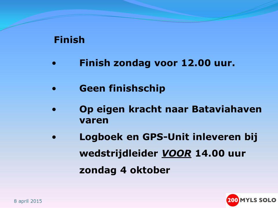 Veiligheid Eten, drinken, rusten, Koude en hitte Uitkijk Dragen zwemvest Mobile telefoon / GPS-Unit Afmelden 8 april 2015 Navigatie