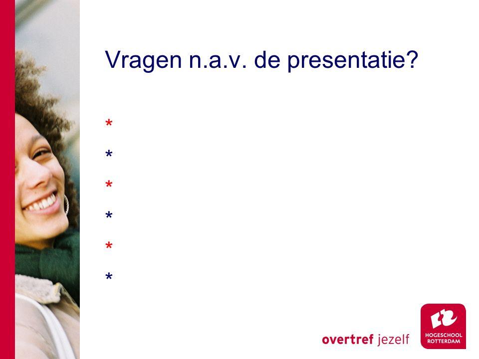 Vragen n.a.v. de presentatie ************
